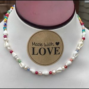 Hot Trend Shells, Pearl and Glass Bead Necklace